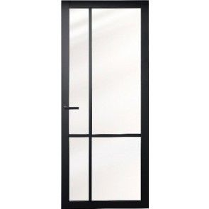 Moderne zwarte (voorbehandelde) binnendeur met glas - zonder glaslatten - strakke uitsraling