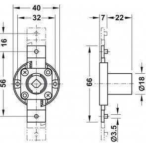 Schuifstangslot, Symo, slag 16 mm