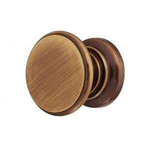 messing meubelknop gepolijst / bruin gepattineerd 25x20 mm
