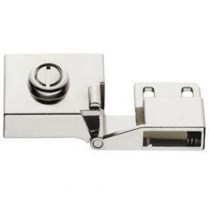 Glasdeurscharnier - INLIGGEND - zink-aluminium legering met vernikkeld gepolijste afwerking - Glasdikte max 5 mm - max deur H600 x B450 mm - Openingshoek 170° - Zonder glasboring