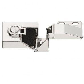 Glasdeurscharnier - OPLIGGEND - zink-aluminium legering met vernikkeld gepolijste afwerking - Glasdikte max 5 mm - max deur H600 x B450 mm - Openingshoek 170° - Zonder glasboring - Opleg 14 mm