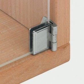 Glasdeurscharnier - INLIGGEND - zink-aluminium legering met vernikkeld gepolijste afwerking - Glasdikte max 5 mm - Openingshoek 170° - zonder glasboring