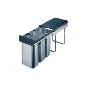 Afvalemmer uittrekbaar 3 x 10L RVS Voor kastbreedte 300 mm - diepte minimaal 450 mm