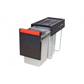 Afvalemmer uittrekbaar 2 x 15L Voor kastbreedte 300 mm - diepte minimaal 467 mm