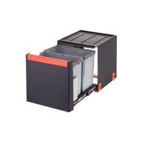 Afvalemmer uittrekbaar 2 x 14L Voor kastbreedte 400 mm - diepte minimaal 407 mm