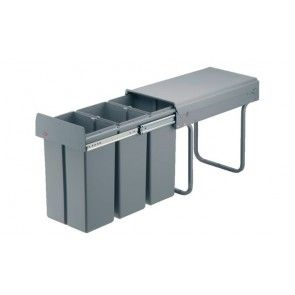 Afvalemmer uittrekbaar 3 x 10L kunststof Voor kastbreedte 300 mm - diepte minimaal 475 mm