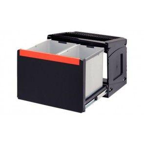 Afvalemmer uittrekbaar 1 x 14L & 1 x 18L Voor kastbreedte 500 mm - diepte minimaal 330 mm