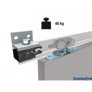 Compleet ophangsysteem schuifdeur max 40 Kg - Wand- of plafondmontage van rails - Rail lengte max 230 cm