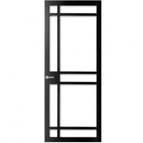 Industriële binnendeur met glas - zwart met negen vlakken - rechtprofiel - max 1200 x 2700 mm