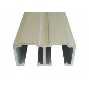 Aluminium dubbele schuifdeurrail 300 cm - max 80 Kg/meter - H 29,5 mm x B 68 mm