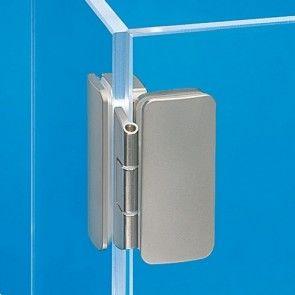 Glasdeurscharnier - OPLIGGEND - zink-aluminium legering met vernikkelde afwerking - Glasdikte tussen 5 en 8 mm - Openingshoek 260° - Voor geheel glazen contstructies - Opleg 3 of 6