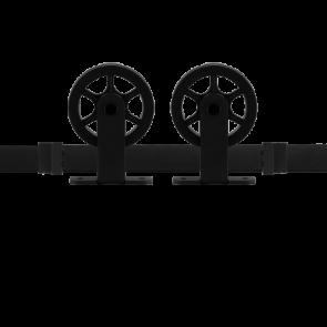 Voorbeeldset Suuri schuifdeursysteem - zwart staal verzinkt - rails 200 cm - voor een deur van 100 cm breed