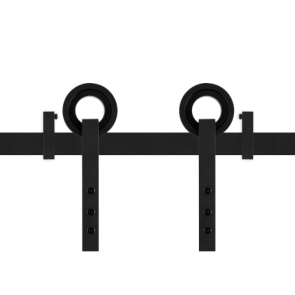 Voorbeeldset Neula schuifdeursysteem - zwart staal verzinkt - rails 200 cm - voor een deur van 100 cm breed