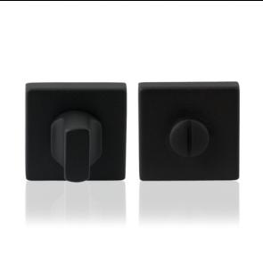 Toiletgarnituur vierkant - zwart RVS - 50x50x8 mm