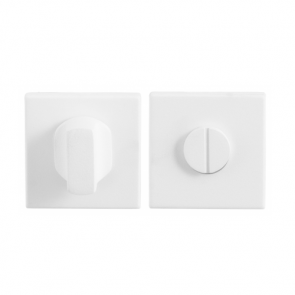 Toiletgarnituur vierkant - wit RVS - 50x50x8 mm