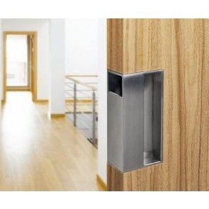 Schuifdeurgreep rechthoekig - fijn mat RVS - diverse deurdiktes