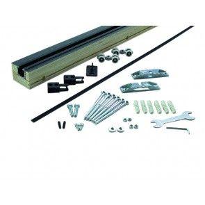 Compleet ophangsysteem houten schuifdeur max 80 Kg - Wandmontage  van rails - Compleet met deklijst - Raillengte 200 cm - Inkortbaar naar wens
