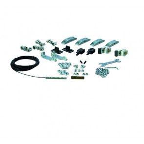 Ophangset voor dubbele HOUTEN schuifdeuren - max 120 Kg per paneel - compleet met kabelomloopsysteem - met rails 80 Kg of 120 Kg te combineren