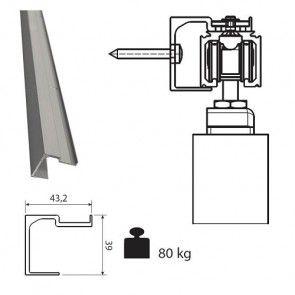 Aluminium wandmontageprofiel voor rail 0400 en 0500 50Kg en 80Kg