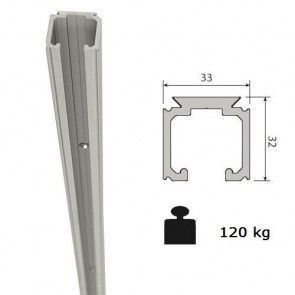 Aluminium schuifdeurrail 300 cm - max 120 Kg/meter -  H32 x B33 mm