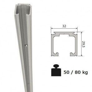 Aluminium schuifdeurrail 600 cm - max 80 Kg/meter - H29,5 x B32 mm
