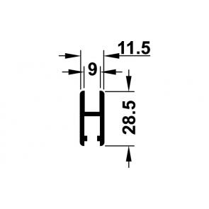 Glasdeurprofiel / loopschoenrail - lengte 300 cm