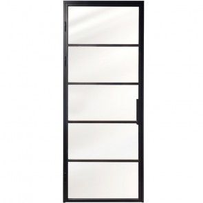 Piave Industriele stalen paneeldeur met glas en kozijn - zwart - 5 glazen vlakken - haaksprofiel -  max 2315 tot 2565 mm