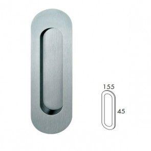 Ovale inbouw schuifdeurgreep - open - RVS 304 -  Lengte 155 x Breedte 45 x hoogte 19 mm