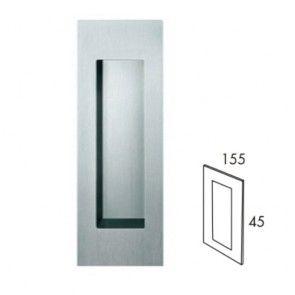 Rechthoekige inbouw schuifdeurgreep - open - RVS 304 -  lengte 155 x breedte 45 x hoogte 19 mm