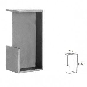 Rechthoekige inbouw schuifdeurgreep -  RVS 304 -  Lengte 101 x Breedte 50 x Deurdikte 40 mm PEH36 404IN40
