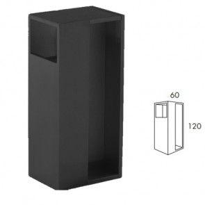 Rechthoekige inbouw schuifdeurgreep -  Zwart Mat-  Lengte 120 x Breedte 60 x Deurdikte 38 en 40 mm