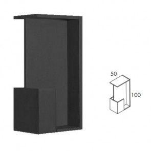 Rechthoekige inbouw schuifdeurgreep -  Zwart Mat -  Lengte 101 x Breedte 50 x Deurdikte 38 en 40 mm