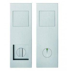 FSB design schuifdeurslot FLUSH Vrij / bezet (wc) + knop kopse kant deur voor uittrekken uit wan