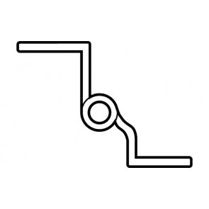 Scharnier messing gepolijst 50mm (met sierkop) Bocht, Aanslag: rechts