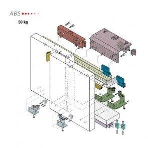 Voorbeeld set - Kastdeursysteem hangend voorliggend met softclose demping 50 Kg - 0930