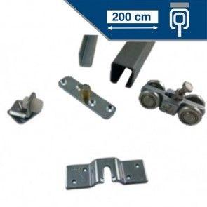 Compleet ophangsysteem schuifdeur max 200 cm breed -PLAFONDmontage- rail lengte 400 cm