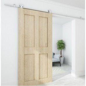Voorbeeldset Singleton - geborsteld RVS - rail 200 cm - voor een deur max. 100 cm breed