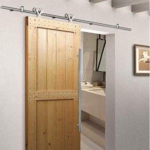 Voorbeeldset Twin - Geborsteld RVS - rail 200 cm - voor een deur van max.100 cm breed