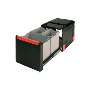 Afvalemmer uittrekbaar 1 x 18L & 2 x 8L Voor kastbreedte 400 mm - diepte minimaal 450 mm