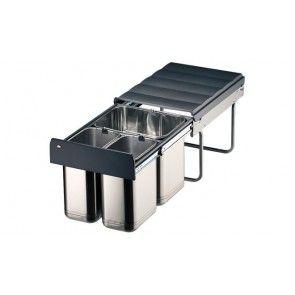 Afvalemmer uittrekbaar 1 x 16L & 2 x8L RVS Voor kastbreedte 400 mm - diepte minimaal 450 mm