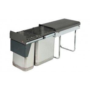 Afvalemmer uittrekbaar 1 x 20L & 1 x 10L Voor kastbreedte minimaal 300 mm