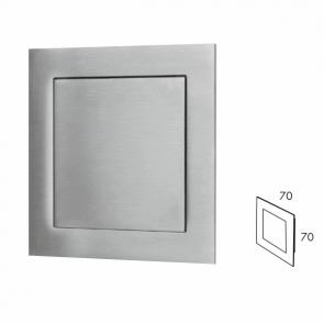 Vierkante inbouw schuifdeurgreep - indrukbaar - RVS 304 - Lengte 70 x Breedte 70 x Hoogte 19 mm PEH36 6312IN