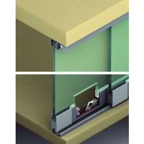 Voorbeeld set 2 panelen max 150 cm - kastbreedte 300 cm - vitrinekast schuifdeursysteem max 25 Kg per paneel