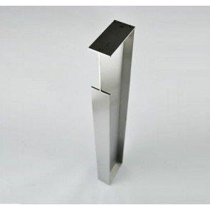 Hoge schuifdeurgreep rechthoekig - dikte 40 mm mat RVS voor schuifdeuren IN de wand