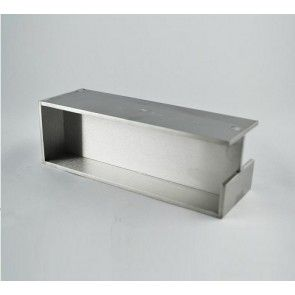 Brede schuifdeurgreep rechthoekig - dikte 40 mm mat RVS voor schuifdeuren IN de wand