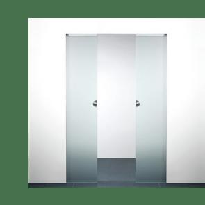 X5D schuifdeursysteem 231 x 103 cm XINNIX Glas dubbele deur - Profiel 50 mm - wanddikte 100 mm