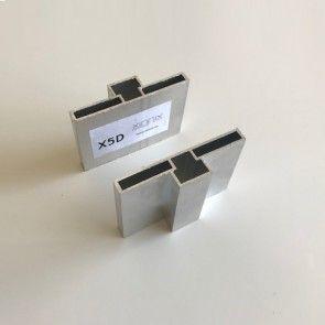 X5 Extra set verticale profielen - deuren breder dan 125 cm - dubbele beplating deurhoogte max 2315