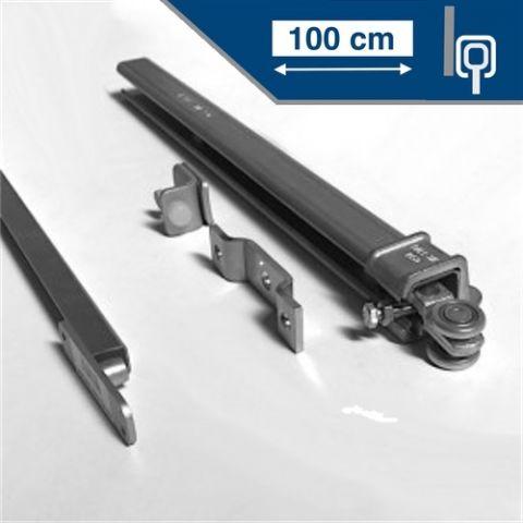 Compleet ophangsyteem schuifdeur max 100 cm breed - WANDmontage - rail lengte 200 cm