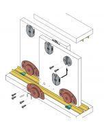 Voorbeeld set schuifdeurkast systeem 0320 inliggend - onderlopend - max 40 Kg per paneel