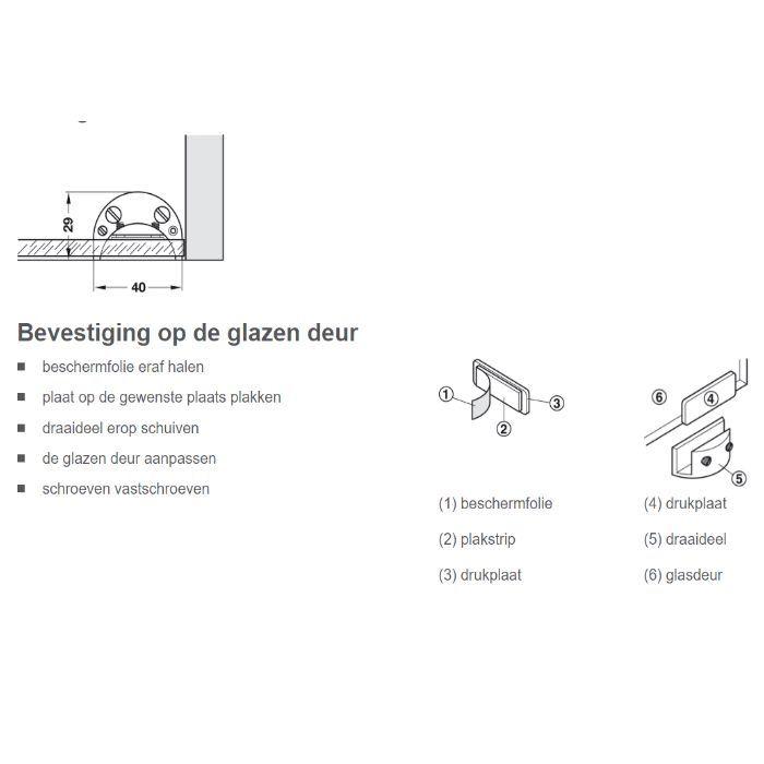 Montage glasdeurscharnier 361.49.201